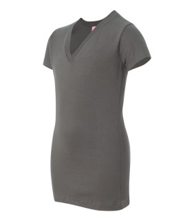 LAT 3607 Junior Fit Fine Jersey V-Neck Longer Length T-Shirt