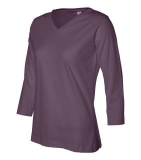 LAT 3577 Ladies' V-Neck With Three-Quarter Sleeves
